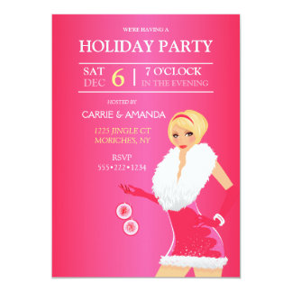 Sexy Hot Pink Christmas Fashion Girl Holiday Dress Card