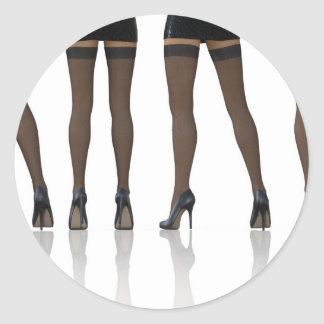 Sexy Legs with Stockings as Abstract Background Classic Round Sticker