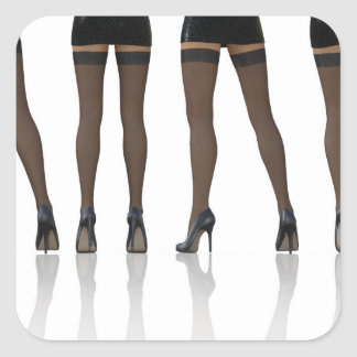 Sexy Legs with Stockings as Abstract Background Square Sticker