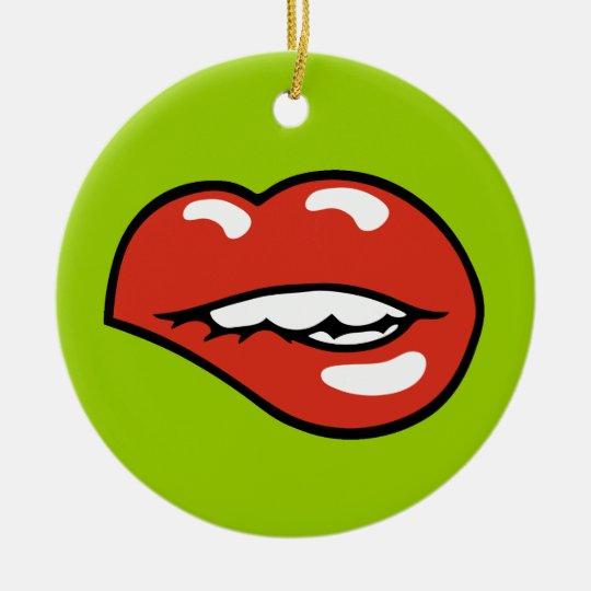 Sexy Lower Lip Bite Ceramic Ornament