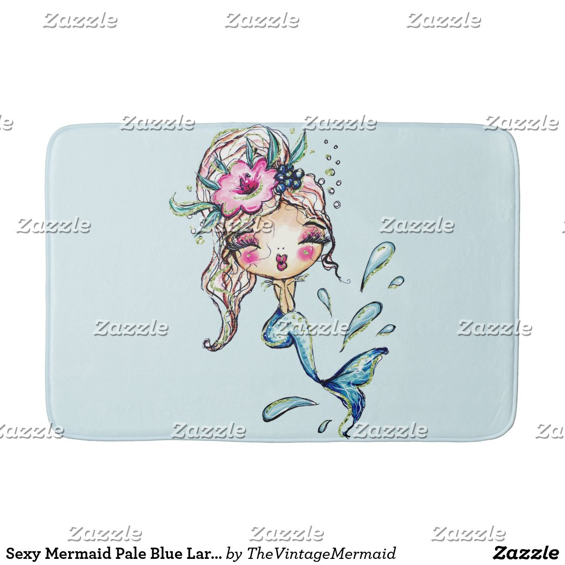 Sexy Mermaid Pale Blue Large Bath Mat