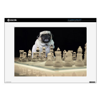 """Sexy Misha pug playing chess with glasses Decals For 15"""" Laptops"""