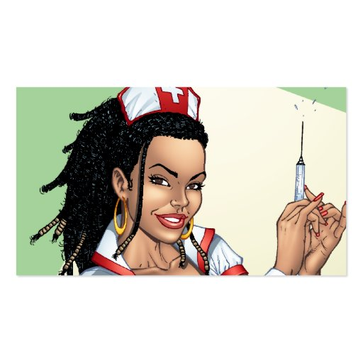 Sexy Nurse with Dreadlocks Giving You A Shot Business Card Templates