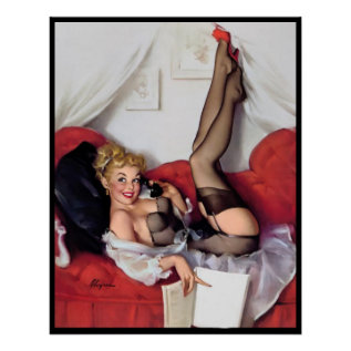 Sexy Pin Up In Bed Poster at Zazzle
