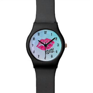 Sexy Pink Kissy Lips with xoxo! Blue Watercolor Wrist Watch