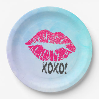 Sexy Pink Kissy Lips with xoxo! Paper Plate