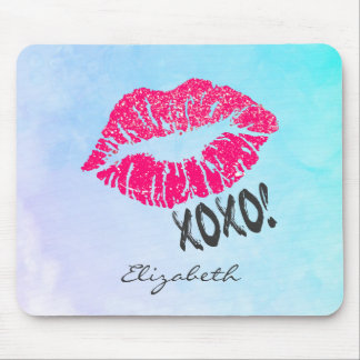 Sexy Pink Kissy Lips with xoxo! Personalized Mouse Pad