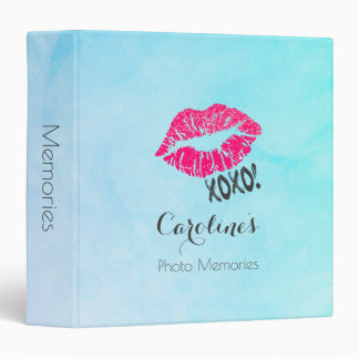 Sexy Pink Kissy Lips with xoxo! Photo Memories 3 Ring Binder