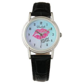 Sexy Pink Kissy Lips with xoxo! Wristwatch