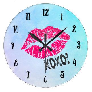 Sexy Pink Kissy Lips xoxo! Large Clock