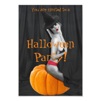 Sexy Pinup Girl Witch Halloween Party Invitations