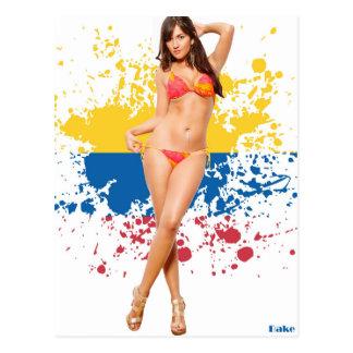 Sexy Pinup Latina girl in bikini - Postcard