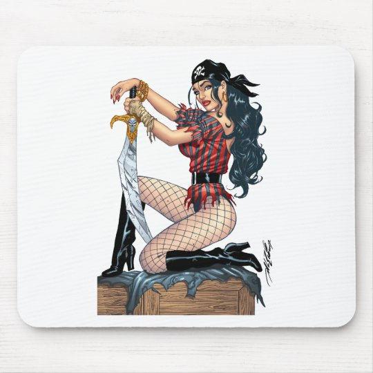 Sexy Pirate Pin-up Girl Customizable by Al Rio Mouse Pad
