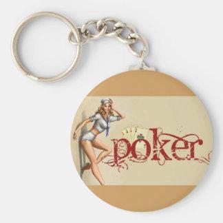 Sexy poker woman keychain