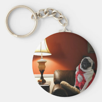 Sexy pug lingerie model, Misha, waiting for you. Keychain