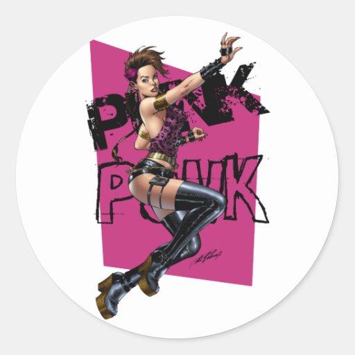 Sexy Punk Rock Girl by the comic artist Al Rio Classic Round Sticker