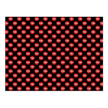 Valentines Themed Sexy red and black polka dot postcard