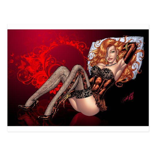 Sexy Red Head in Lingerie customizables by Al Rio Postcard