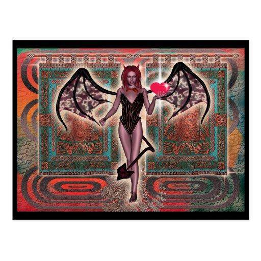 Sexy red headed devil - customizable postcard