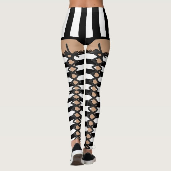 Sexy Referee Costume (Lace Up) Leggings