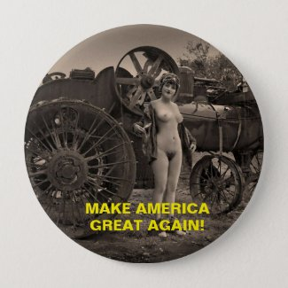 SEXY RETRO LADY GET ON THE TRUMP TRAIN! PINBACK BUTTON