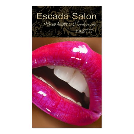 Sassy Luscious Pink Lips Cosmetology Business Cards