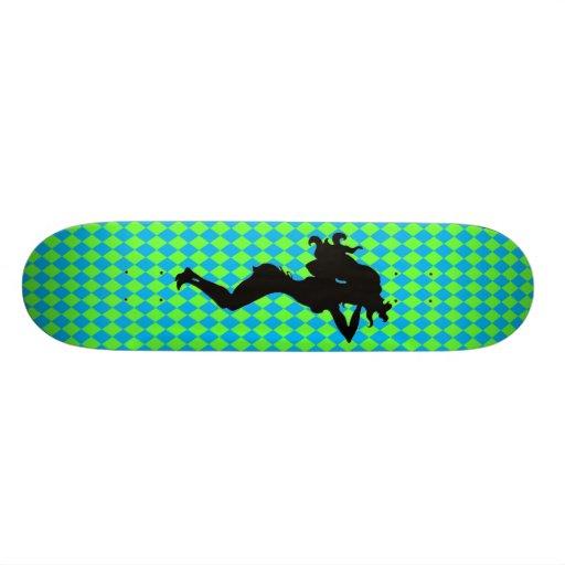 Sexy Silhouette Blue & Green Diamond Skateboard