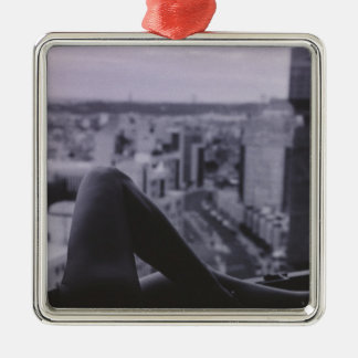 Sexy Slim Young lady naked on window ledge overloo Metal Ornament