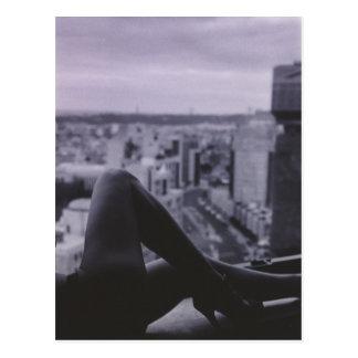 Sexy Slim Young lady naked on window ledge overloo Postcard