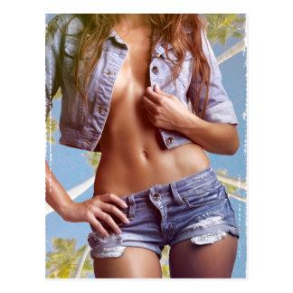 sexy swag jeans biker girl rock grunge serious hot postcard