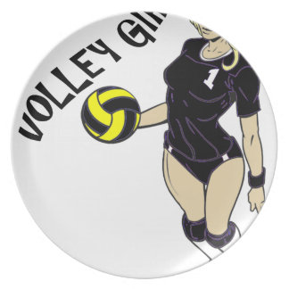 SEXY VOLLEY GIRL BLACK TEXT MELAMINE PLATE