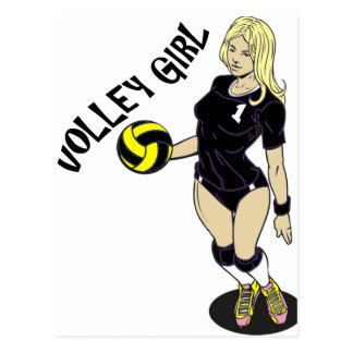 SEXY VOLLEY GIRL BLACK TEXT POSTCARD