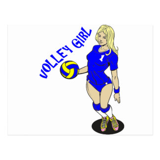 SEXY VOLLEY GIRL BLUE TEXT POSTCARD