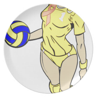 SEXY VOLLEY GIRL PINK RIBBON DINNER PLATE