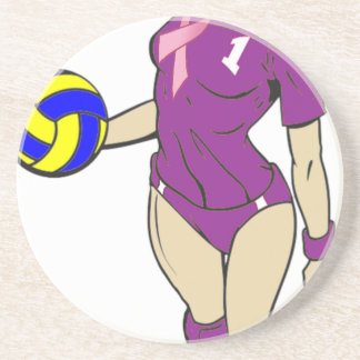 SEXY VOLLEY GIRL PINK RIBBON DRINK COASTER