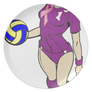 SEXY VOLLEY GIRL PINK RIBBON MELAMINE PLATE