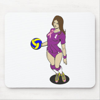 SEXY VOLLEY GIRL PINK RIBBON MOUSE PAD