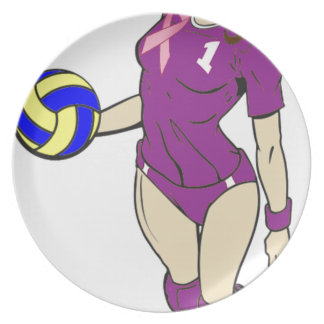 SEXY VOLLEY GIRL PINK RIBBON PLATE