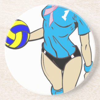 SEXY VOLLEY GIRL PINK RIBBON SANDSTONE COASTER