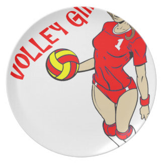 SEXY VOLLEY GIRL RED TEXT PLATE