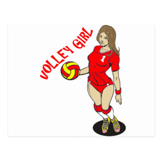 SEXY VOLLEY GIRL RED TEXT POSTCARD
