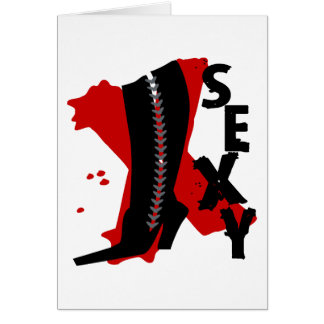 Sexy With Sexy Lace Up Boot, Big X Background Card