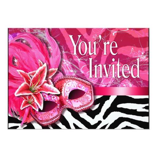 """Sexy Zebra Masquerade Party Invitation 5"""" X 7"""" Invitation Card"""