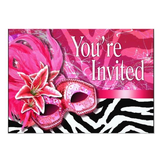 Sexy Zebra Masquerade Party Invitation