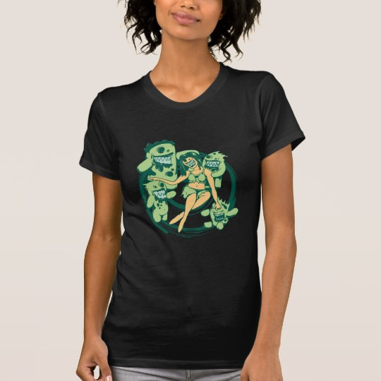 sexy zombie with posse funny vector cartoon art T-Shirt