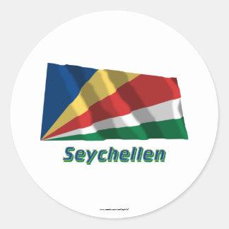 Seychellen Fliegende Flagge mit Namen Round Stickers