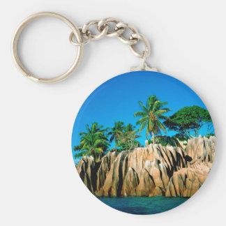 Seychelles encontradas isla tropical llavero personalizado