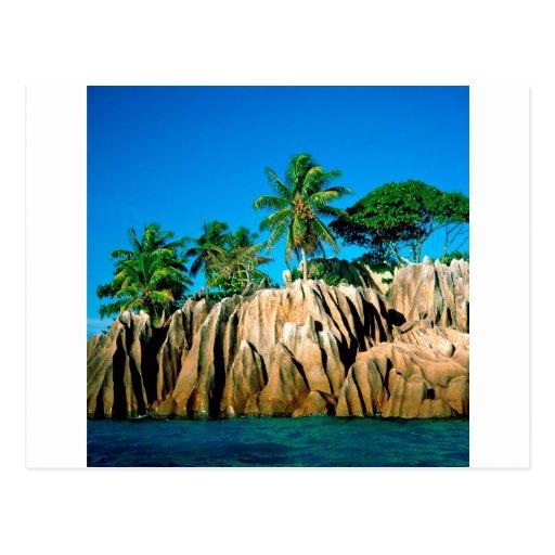 Seychelles encontradas isla tropical tarjetas postales