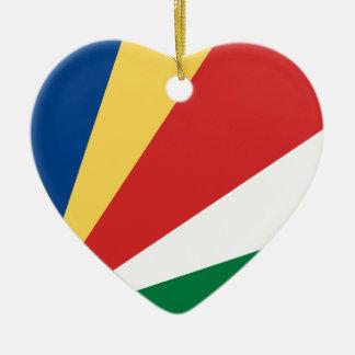 Seychelles Flag Heart Ornaments