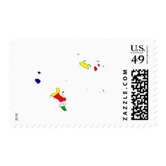Seychelles flag map stamp
